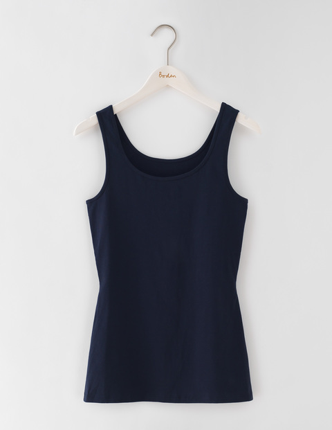 Longer Line Vest Navy Women, Navy - neckline: round neck; pattern: plain; sleeve style: sleeveless; style: vest top; predominant colour: navy; occasions: casual; length: standard; fibres: cotton - stretch; fit: body skimming; sleeve length: sleeveless; pattern type: fabric; texture group: jersey - stretchy/drapey; season: s/s 2016; wardrobe: basic