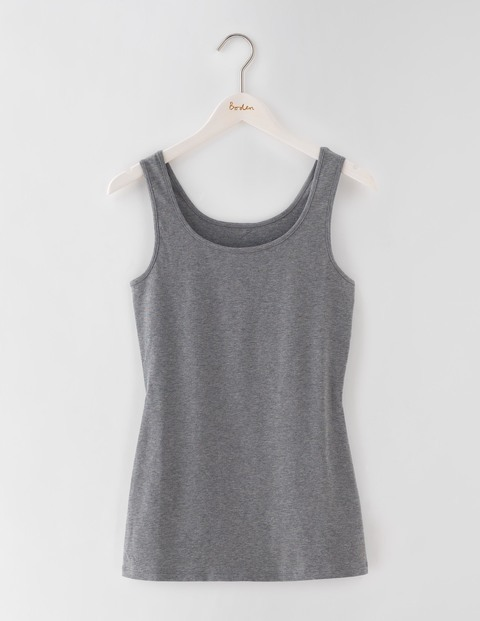 Longer Line Vest Grey Marl Women, Grey Marl - pattern: plain; sleeve style: sleeveless; style: vest top; predominant colour: mid grey; occasions: casual; length: standard; neckline: scoop; fibres: cotton - stretch; fit: body skimming; sleeve length: sleeveless; pattern type: fabric; texture group: jersey - stretchy/drapey; season: s/s 2016