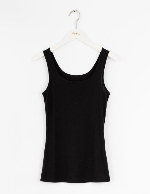 Longer Line Vest Black Women, Black - neckline: round neck; pattern: plain; sleeve style: sleeveless; style: vest top; predominant colour: black; occasions: casual; length: standard; fibres: cotton - stretch; fit: body skimming; sleeve length: sleeveless; pattern type: fabric; texture group: jersey - stretchy/drapey; season: s/s 2016