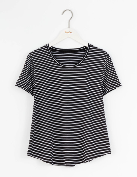 Supersoft Swing Tee Black/Ivory Stripe Women, Black/Ivory Stripe - pattern: horizontal stripes; style: t-shirt; secondary colour: ivory/cream; predominant colour: black; occasions: casual; length: standard; fibres: cotton - 100%; fit: body skimming; neckline: crew; sleeve length: short sleeve; sleeve style: standard; pattern type: fabric; texture group: jersey - stretchy/drapey; multicoloured: multicoloured; season: s/s 2016; wardrobe: basic