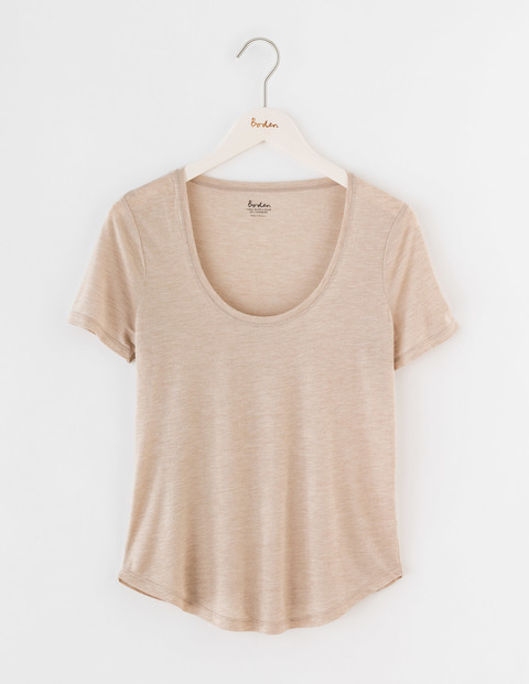 Luxe Short Sleeve Scoop Tee Chinchilla Marl Women, Chinchilla Marl - style: t-shirt; predominant colour: nude; occasions: casual; length: standard; neckline: scoop; fibres: cotton - stretch; fit: loose; sleeve length: short sleeve; sleeve style: standard; pattern type: fabric; pattern size: light/subtle; texture group: jersey - stretchy/drapey; pattern: marl; season: s/s 2016; wardrobe: basic