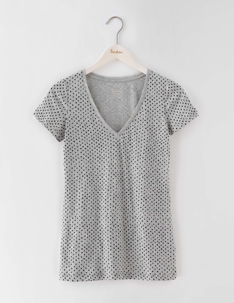 Long Lightweight V Neck Grey Marl Spot Women, Grey Marl Spot - neckline: v-neck; style: t-shirt; pattern: polka dot; predominant colour: light grey; occasions: casual; length: standard; fibres: cotton - 100%; fit: body skimming; sleeve length: short sleeve; sleeve style: standard; pattern type: fabric; texture group: jersey - stretchy/drapey; season: s/s 2016; wardrobe: highlight