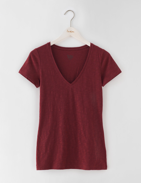 Long Lightweight V Neck Garnet Women, Garnet - neckline: v-neck; pattern: plain; style: t-shirt; predominant colour: burgundy; occasions: casual; length: standard; fibres: cotton - 100%; fit: body skimming; sleeve length: short sleeve; sleeve style: standard; pattern type: fabric; texture group: jersey - stretchy/drapey; season: s/s 2016