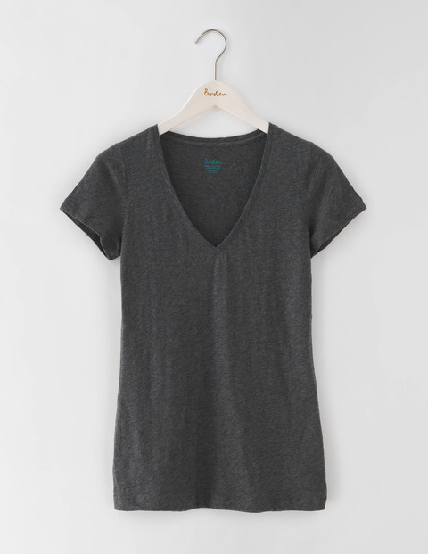 Long Lightweight V Neck Charcoal Marl Women, Charcoal Marl - neckline: v-neck; pattern: plain; style: t-shirt; predominant colour: charcoal; occasions: casual; length: standard; fibres: cotton - 100%; fit: body skimming; sleeve length: short sleeve; sleeve style: standard; pattern type: fabric; texture group: jersey - stretchy/drapey; season: s/s 2016