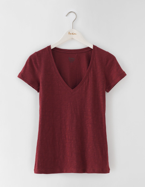 Lightweight V Neck T Shirt Garnet Women, Garnet - neckline: v-neck; pattern: plain; style: t-shirt; predominant colour: burgundy; occasions: casual; length: standard; fibres: cotton - 100%; fit: body skimming; sleeve length: short sleeve; sleeve style: standard; pattern type: fabric; texture group: jersey - stretchy/drapey; season: s/s 2016; wardrobe: highlight