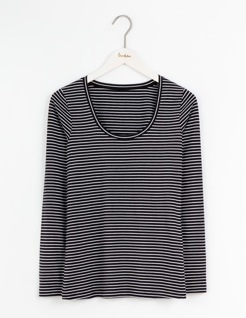 Supersoft Scoop Tee Black/Ivory Stripe Women, Black/Ivory Stripe - neckline: round neck; pattern: horizontal stripes; style: t-shirt; secondary colour: white; predominant colour: black; occasions: casual; length: standard; fibres: cotton - mix; fit: body skimming; sleeve length: long sleeve; sleeve style: standard; pattern type: fabric; texture group: jersey - stretchy/drapey; multicoloured: multicoloured; season: s/s 2016; wardrobe: basic