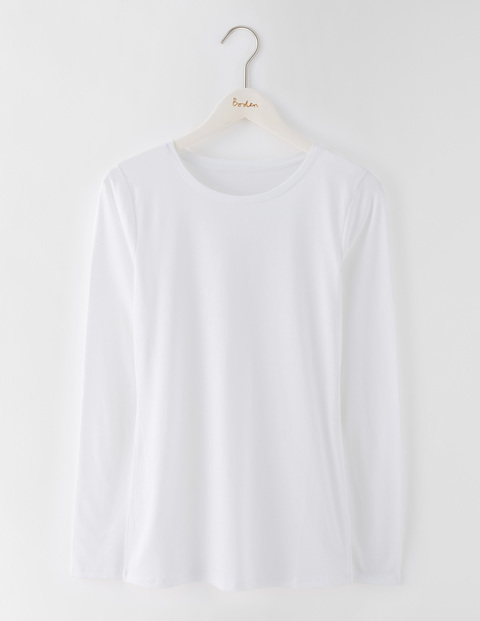Supersoft Crew Tee White Women, White - pattern: plain; style: t-shirt; predominant colour: white; occasions: casual; length: standard; fibres: cotton - mix; fit: body skimming; neckline: crew; sleeve length: long sleeve; sleeve style: standard; pattern type: fabric; texture group: jersey - stretchy/drapey; season: s/s 2016; wardrobe: basic
