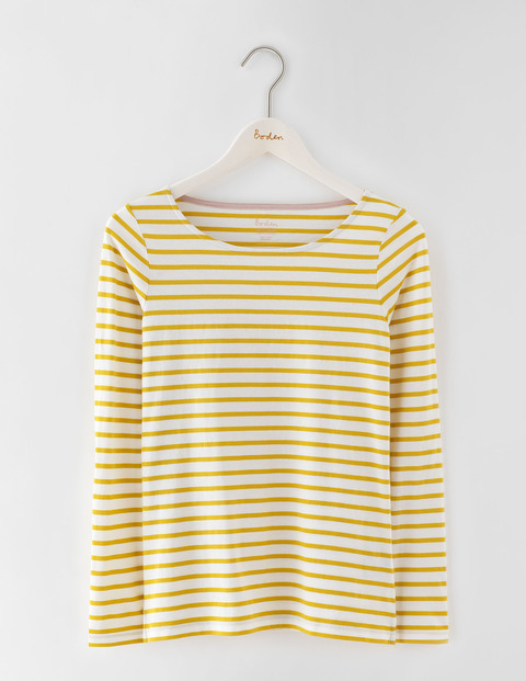 Long Sleeve Breton Ivory/Saffron Women, Ivory/Saffron - pattern: horizontal stripes; style: t-shirt; predominant colour: ivory/cream; secondary colour: yellow; occasions: casual; length: standard; fibres: cotton - 100%; fit: body skimming; neckline: crew; sleeve length: long sleeve; sleeve style: standard; pattern type: fabric; texture group: jersey - stretchy/drapey; multicoloured: multicoloured; season: s/s 2016; wardrobe: highlight