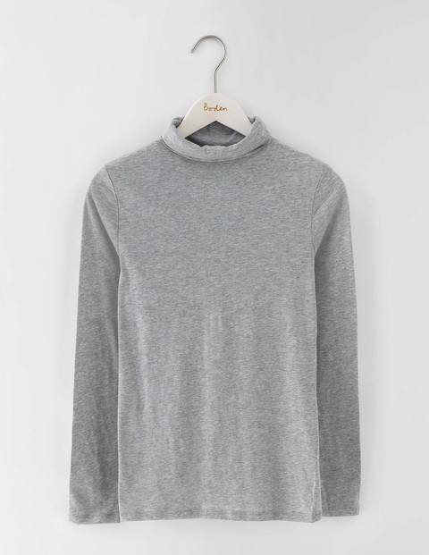 Featherweight Polo Neck Grey Marl Women, Grey Marl - neckline: high neck; style: t-shirt; predominant colour: charcoal; occasions: casual; length: standard; fibres: cotton - stretch; fit: straight cut; sleeve length: long sleeve; sleeve style: standard; pattern type: fabric; pattern size: light/subtle; texture group: jersey - stretchy/drapey; pattern: marl; season: s/s 2016; wardrobe: basic