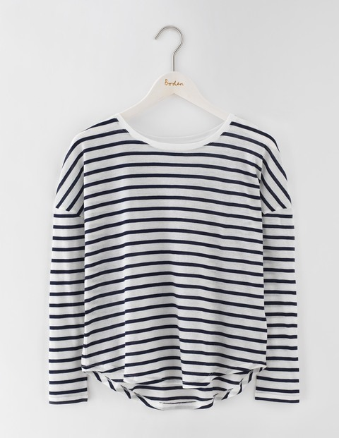 Featherweight Relaxed Tee Ivory/Navy Stripe Women, Ivory/Navy Stripe - pattern: horizontal stripes; predominant colour: ivory/cream; secondary colour: navy; occasions: casual; length: standard; style: top; fibres: cotton - mix; fit: body skimming; neckline: crew; sleeve length: long sleeve; sleeve style: standard; texture group: crepes; pattern type: fabric; multicoloured: multicoloured; season: s/s 2016; wardrobe: basic