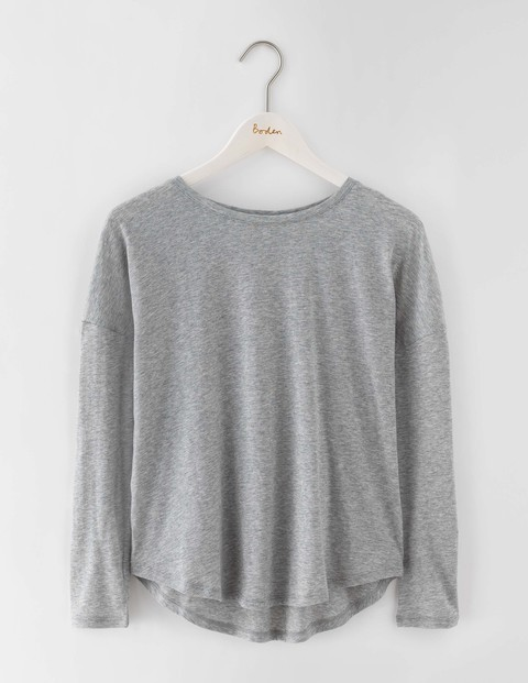 Featherweight Relaxed Tee Grey Marl Women, Grey Marl - pattern: plain; predominant colour: light grey; occasions: casual; length: standard; style: top; fibres: cotton - mix; fit: body skimming; neckline: crew; sleeve length: long sleeve; sleeve style: standard; pattern type: fabric; texture group: jersey - stretchy/drapey; season: s/s 2016; wardrobe: basic