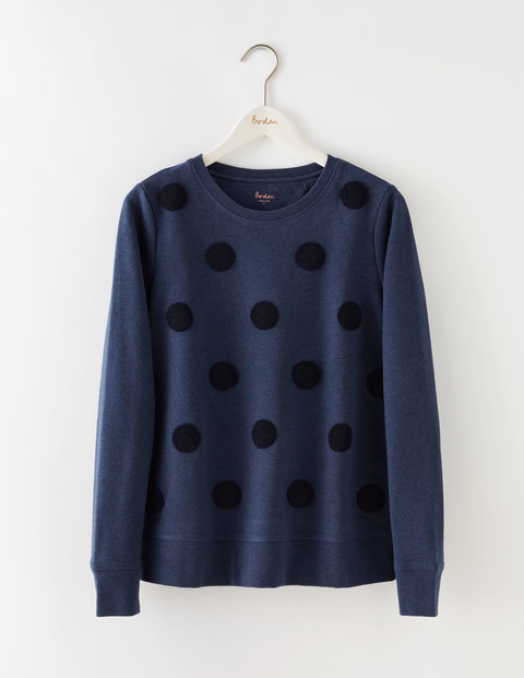 Embroidered Spot Sweatshirt Dark Indigo/Navy Women, Dark Indigo/Navy - neckline: round neck; style: sweat top; pattern: polka dot; predominant colour: navy; occasions: casual, creative work; length: standard; fibres: cotton - stretch; fit: straight cut; sleeve length: long sleeve; sleeve style: standard; pattern type: fabric; pattern size: standard; texture group: jersey - stretchy/drapey; season: s/s 2016