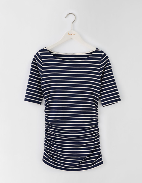 Ruched Top Navy/Ivory Stripe Women, Navy/Ivory Stripe - neckline: round neck; pattern: horizontal stripes; style: t-shirt; secondary colour: white; predominant colour: navy; occasions: casual; length: standard; fibres: cotton - stretch; fit: body skimming; sleeve length: short sleeve; sleeve style: standard; pattern type: fabric; pattern size: standard; texture group: jersey - stretchy/drapey; multicoloured: multicoloured; season: s/s 2016; wardrobe: basic