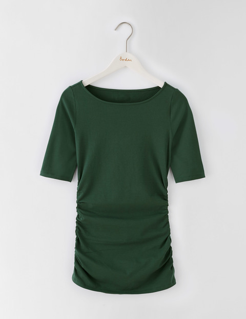 Ruched Top Beetle Green Women, Beetle Green - neckline: round neck; pattern: plain; predominant colour: dark green; occasions: casual; length: standard; style: top; fibres: cotton - stretch; fit: body skimming; sleeve length: short sleeve; sleeve style: standard; pattern type: fabric; texture group: jersey - stretchy/drapey; season: s/s 2016; wardrobe: highlight