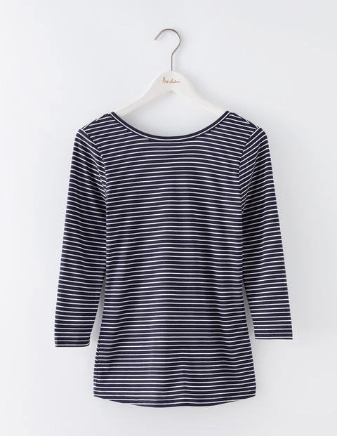 Supersoft Ballet Back Top Navy/Ivory Stripe Women, Navy/Ivory Stripe - pattern: horizontal stripes; style: t-shirt; secondary colour: white; predominant colour: navy; occasions: casual; length: standard; fibres: cotton - stretch; fit: body skimming; neckline: crew; sleeve length: 3/4 length; sleeve style: standard; texture group: jersey - clingy; pattern type: fabric; season: s/s 2016; wardrobe: basic