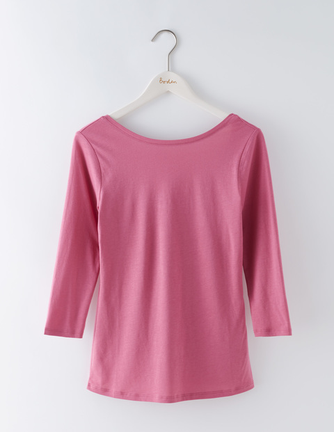 Supersoft Ballet Back Top Hydrangea Women, Hydrangea - neckline: round neck; pattern: plain; style: t-shirt; predominant colour: pink; occasions: casual; length: standard; fibres: cotton - stretch; fit: body skimming; sleeve length: 3/4 length; sleeve style: standard; pattern type: fabric; texture group: jersey - stretchy/drapey; season: s/s 2016; wardrobe: highlight