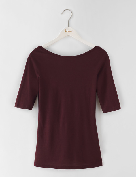 Supersoft Ballet Back Top Dark Burgundy Women, Dark Burgundy - pattern: plain; predominant colour: burgundy; occasions: casual; length: standard; style: top; neckline: scoop; fibres: cotton - mix; fit: body skimming; sleeve length: half sleeve; sleeve style: standard; pattern type: fabric; texture group: jersey - stretchy/drapey; season: s/s 2016; wardrobe: highlight