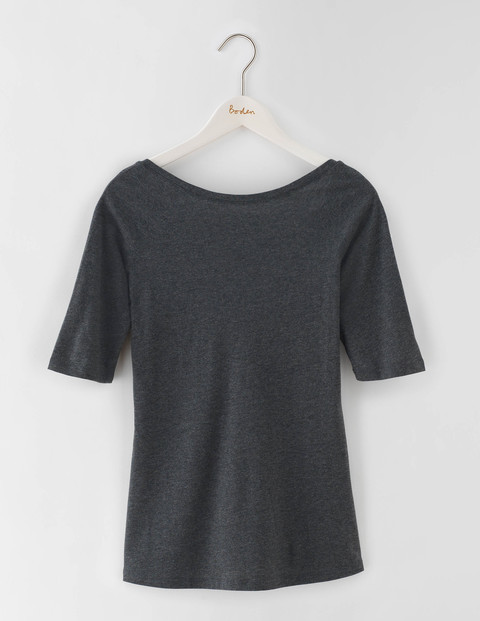 Supersoft Ballet Back Top Charcoal Marl Women, Charcoal Marl - neckline: round neck; pattern: plain; style: t-shirt; predominant colour: charcoal; occasions: casual; length: standard; fibres: cotton - stretch; fit: body skimming; sleeve length: half sleeve; sleeve style: standard; texture group: jersey - clingy; pattern type: fabric; season: s/s 2016; wardrobe: basic