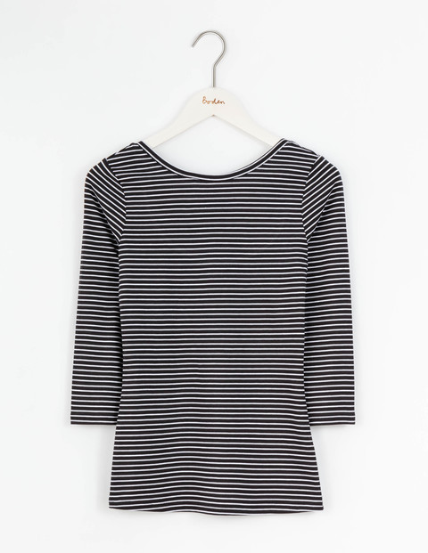 Supersoft Ballet Back Top Black/Ivory Stripe Women, Black/Ivory Stripe - pattern: horizontal stripes; secondary colour: white; predominant colour: black; occasions: casual; length: standard; style: top; fibres: cotton - mix; fit: body skimming; neckline: crew; sleeve length: 3/4 length; sleeve style: standard; pattern type: fabric; texture group: jersey - stretchy/drapey; multicoloured: multicoloured; season: s/s 2016; wardrobe: basic