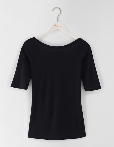 Supersoft Ballet Back Top Black Women, Black - neckline: round neck; pattern: plain; predominant colour: black; occasions: casual, work, creative work; length: standard; style: top; fibres: cotton - mix; fit: body skimming; sleeve length: half sleeve; sleeve style: standard; pattern type: fabric; texture group: jersey - stretchy/drapey; season: s/s 2016; wardrobe: basic