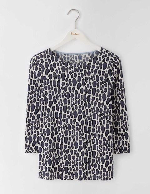 Bold Print Top Sandstone Leopard Print Small Women, Sandstone Leopard Print Small - neckline: round neck; style: t-shirt; predominant colour: white; secondary colour: charcoal; occasions: casual, creative work; length: standard; fibres: linen - 100%; fit: straight cut; sleeve length: 3/4 length; sleeve style: standard; pattern type: fabric; pattern size: standard; pattern: animal print; texture group: woven light midweight; season: s/s 2016; wardrobe: highlight