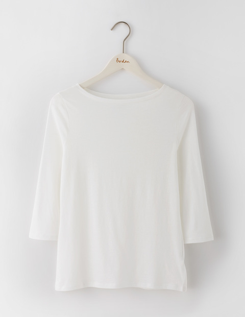 Featherweight Boatneck Tee White Women, White - pattern: plain; predominant colour: white; occasions: casual; length: standard; style: top; fibres: cotton - mix; fit: body skimming; neckline: crew; sleeve length: 3/4 length; sleeve style: standard; pattern type: fabric; texture group: jersey - stretchy/drapey; season: s/s 2016; wardrobe: basic
