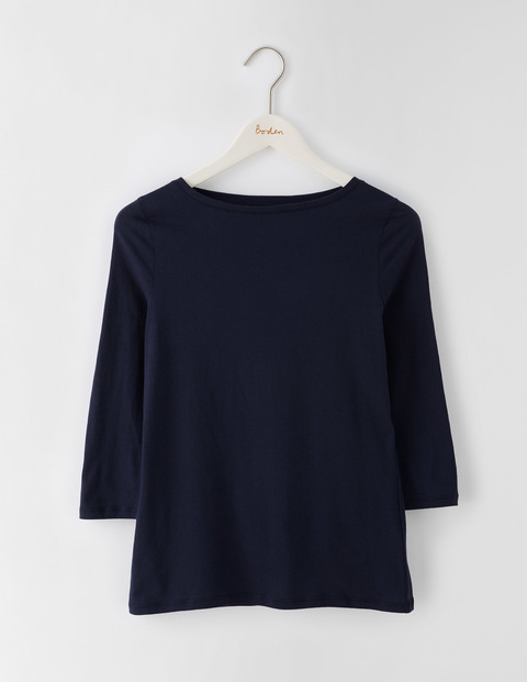 Featherweight Boatneck Tee Navy Women, Navy - pattern: plain; predominant colour: navy; occasions: casual; length: standard; style: top; fibres: cotton - mix; fit: body skimming; neckline: crew; sleeve length: 3/4 length; sleeve style: standard; texture group: knits/crochet; pattern type: knitted - fine stitch; season: s/s 2016; wardrobe: basic