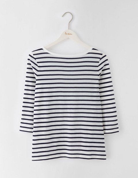 Featherweight Boatneck Tee Ivory/Navy Stripe Women, Ivory/Navy Stripe - neckline: slash/boat neckline; pattern: horizontal stripes; predominant colour: ivory/cream; secondary colour: navy; occasions: casual; length: standard; style: top; fibres: cotton - mix; fit: body skimming; sleeve length: 3/4 length; sleeve style: standard; pattern type: fabric; pattern size: light/subtle; texture group: jersey - stretchy/drapey; multicoloured: multicoloured; season: s/s 2016; wardrobe: basic