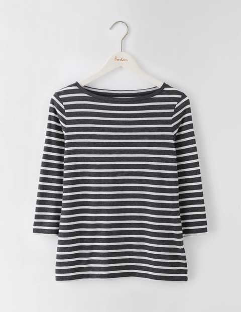 Featherweight Boatneck Tee Charcoal Marl/Ivory Stripe Women, Charcoal Marl/Ivory Stripe - neckline: round neck; pattern: horizontal stripes; secondary colour: white; predominant colour: navy; occasions: casual; length: standard; style: top; fibres: cotton - mix; fit: body skimming; sleeve length: 3/4 length; sleeve style: standard; pattern type: fabric; texture group: jersey - stretchy/drapey; multicoloured: multicoloured; season: s/s 2016; wardrobe: basic