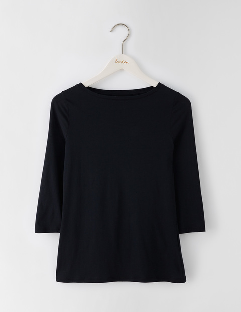 Featherweight Boatneck Tee Black Women, Black - neckline: slash/boat neckline; pattern: plain; style: t-shirt; predominant colour: black; occasions: casual, creative work; length: standard; fibres: cotton - mix; fit: body skimming; sleeve length: 3/4 length; sleeve style: standard; pattern type: fabric; texture group: jersey - stretchy/drapey; season: s/s 2016; wardrobe: basic