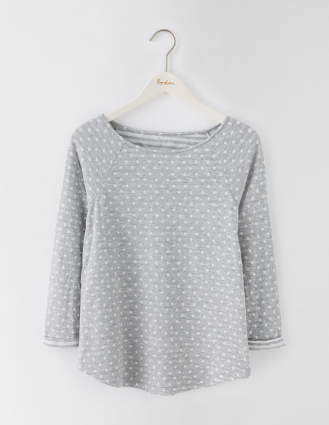 Spot On Stripe Top Grey Marl Spot/Ivory Stripe Women, Grey Marl Spot/Ivory Stripe - neckline: round neck; pattern: polka dot; secondary colour: white; predominant colour: light grey; occasions: casual; length: standard; style: top; fibres: cotton - mix; fit: body skimming; sleeve length: long sleeve; sleeve style: standard; pattern type: fabric; texture group: jersey - stretchy/drapey; multicoloured: multicoloured; season: s/s 2016