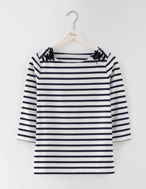 Velvet Lace Up Breton Ivory/Navy Stripe Women, Ivory/Navy Stripe - neckline: round neck; pattern: horizontal stripes; secondary colour: white; predominant colour: navy; occasions: casual, creative work; length: standard; style: top; fibres: cotton - stretch; fit: straight cut; sleeve length: long sleeve; sleeve style: standard; trends: monochrome; pattern type: fabric; pattern size: standard; texture group: jersey - stretchy/drapey; season: s/s 2016; wardrobe: basic