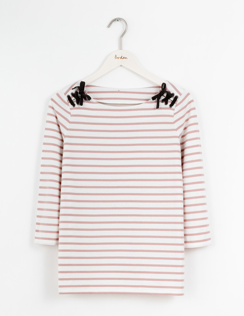 Velvet Lace Up Breton Ivory/Milkshake Stripe Women, Ivory/Milkshake Stripe - pattern: horizontal stripes; style: t-shirt; predominant colour: ivory/cream; secondary colour: pink; occasions: casual; length: standard; fibres: cotton - 100%; fit: body skimming; neckline: crew; sleeve length: 3/4 length; sleeve style: standard; pattern type: fabric; pattern size: standard; texture group: jersey - stretchy/drapey; multicoloured: multicoloured; season: s/s 2016; wardrobe: highlight
