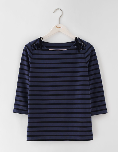 Velvet Lace Up Breton Aristocratic Blue/Black Stripe Women, Aristocratic Blue/Black Stripe - pattern: horizontal stripes; style: t-shirt; predominant colour: navy; secondary colour: black; occasions: casual; length: standard; fibres: cotton - 100%; fit: body skimming; neckline: crew; sleeve length: 3/4 length; sleeve style: standard; pattern type: fabric; pattern size: standard; texture group: jersey - stretchy/drapey; multicoloured: multicoloured; season: s/s 2016; wardrobe: basic