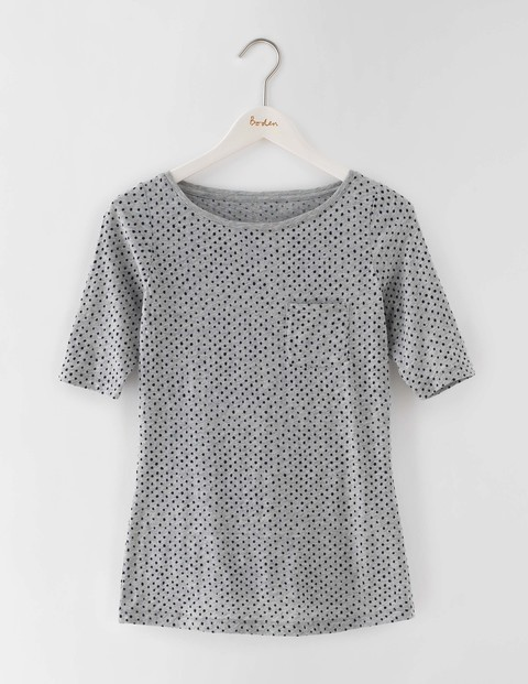 Long Lightweight Boat Neck Grey Marl Spot Women, Grey Marl Spot - style: t-shirt; pattern: polka dot; predominant colour: light grey; occasions: casual; length: standard; fibres: cotton - 100%; fit: body skimming; neckline: crew; sleeve length: short sleeve; sleeve style: standard; pattern type: fabric; texture group: jersey - stretchy/drapey; season: s/s 2016; wardrobe: highlight