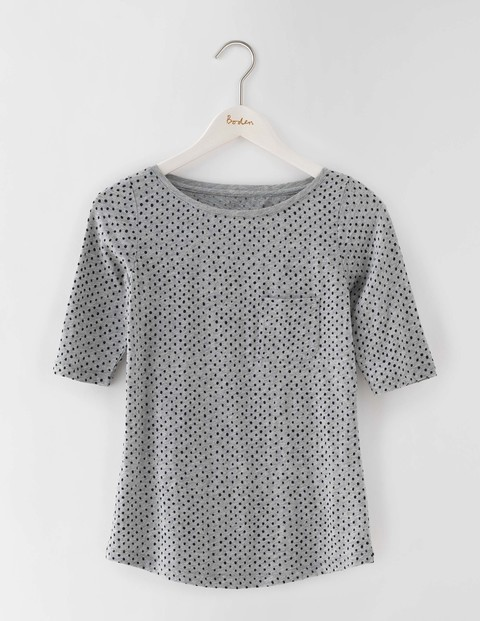 Lightweight Boat Neck Grey Marl Spot Women, Grey Marl Spot - style: t-shirt; pattern: polka dot; predominant colour: light grey; occasions: casual; length: standard; fibres: cotton - 100%; fit: body skimming; neckline: crew; sleeve length: short sleeve; sleeve style: standard; pattern type: fabric; texture group: jersey - stretchy/drapey; season: s/s 2016; wardrobe: highlight