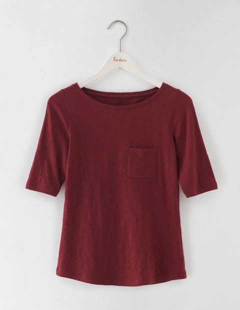 Lightweight Boat Neck Garnet Women, Garnet - neckline: round neck; pattern: plain; style: t-shirt; predominant colour: burgundy; occasions: casual; length: standard; fibres: cotton - 100%; fit: body skimming; sleeve length: short sleeve; sleeve style: standard; pattern type: fabric; texture group: jersey - stretchy/drapey; season: s/s 2016; wardrobe: highlight