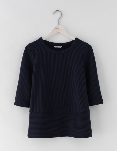 Hattie Top Navy Women, Navy - pattern: plain; predominant colour: navy; occasions: casual; length: standard; style: top; fibres: cotton - mix; fit: body skimming; neckline: crew; sleeve length: 3/4 length; sleeve style: standard; pattern type: fabric; texture group: jersey - stretchy/drapey; season: s/s 2016; wardrobe: basic