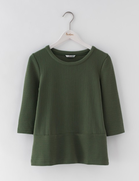 Hattie Top Marsh Women, Marsh - pattern: plain; predominant colour: khaki; occasions: casual; length: standard; style: top; fibres: cotton - mix; fit: body skimming; neckline: crew; sleeve length: 3/4 length; sleeve style: standard; pattern type: fabric; texture group: jersey - stretchy/drapey; season: s/s 2016; wardrobe: basic