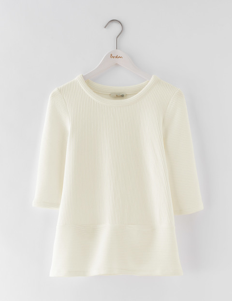 Hattie Top Ivory Women, Ivory - pattern: plain; predominant colour: ivory/cream; occasions: casual; length: standard; style: top; fibres: cotton - mix; fit: body skimming; neckline: crew; sleeve length: 3/4 length; sleeve style: standard; pattern type: fabric; texture group: jersey - stretchy/drapey; season: s/s 2016; wardrobe: basic