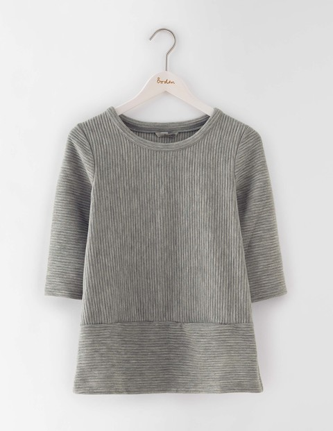 Hattie Top Grey Marl Women, Grey Marl - pattern: plain; predominant colour: light grey; occasions: casual; length: standard; style: top; fibres: cotton - mix; fit: body skimming; neckline: crew; sleeve length: 3/4 length; sleeve style: standard; pattern type: fabric; texture group: jersey - stretchy/drapey; season: s/s 2016; wardrobe: basic