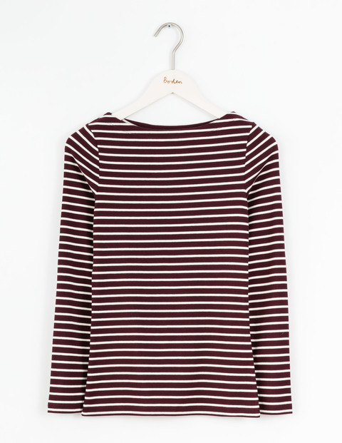 Essential Boatneck Dark Burgundy/Ivory Women, Dark Burgundy/Ivory - pattern: horizontal stripes; style: t-shirt; secondary colour: ivory/cream; predominant colour: burgundy; occasions: casual; length: standard; fibres: cotton - 100%; fit: body skimming; neckline: crew; sleeve length: long sleeve; sleeve style: standard; pattern type: fabric; pattern size: standard; texture group: jersey - stretchy/drapey; multicoloured: multicoloured; season: s/s 2016; wardrobe: highlight