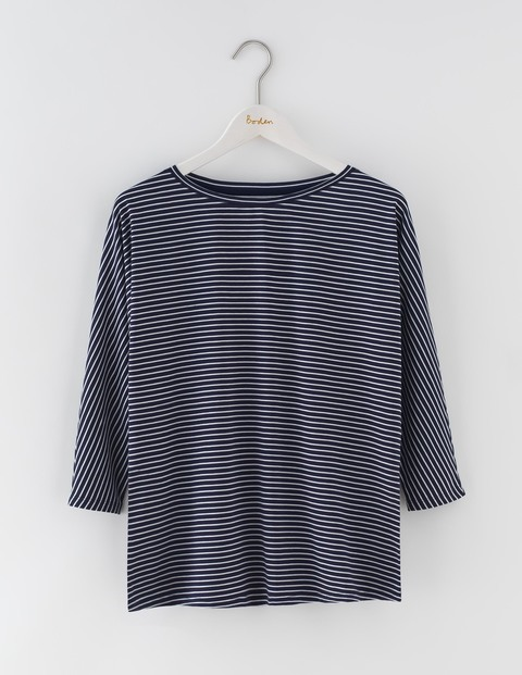 Supersoft Oversized Tee Navy/Ivory Women, Navy/Ivory - pattern: horizontal stripes; style: t-shirt; secondary colour: ivory/cream; predominant colour: navy; occasions: casual; length: standard; fibres: cotton - 100%; fit: body skimming; neckline: crew; sleeve length: 3/4 length; sleeve style: standard; pattern type: fabric; texture group: jersey - stretchy/drapey; multicoloured: multicoloured; season: s/s 2016