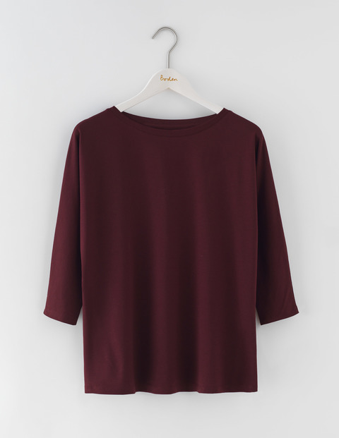 Supersoft Oversized Top Dark Burgundy Women, Dark Burgundy - pattern: plain; predominant colour: burgundy; occasions: casual; length: standard; style: top; fibres: cotton - 100%; fit: body skimming; neckline: crew; sleeve length: 3/4 length; sleeve style: standard; pattern type: fabric; texture group: jersey - stretchy/drapey; season: s/s 2016; wardrobe: highlight
