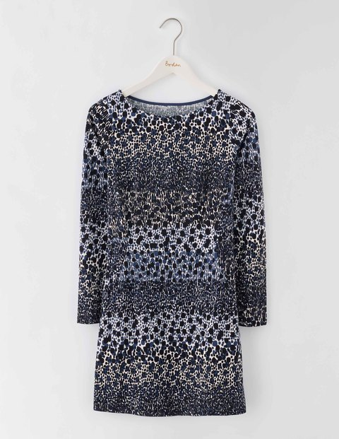 Mia Jersey Tunic Blue Animal Stripe Women, Blue Animal Stripe - neckline: round neck; style: tunic; predominant colour: mid grey; secondary colour: black; occasions: evening; fibres: cotton - mix; fit: body skimming; length: mid thigh; sleeve length: long sleeve; sleeve style: standard; pattern type: fabric; pattern: animal print; texture group: jersey - stretchy/drapey; multicoloured: multicoloured; season: s/s 2016; wardrobe: event