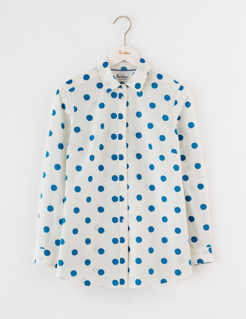 The Longer Line Classic Shirt Solstice Blue Spot Women, Solstice Blue Spot - neckline: shirt collar/peter pan/zip with opening; style: shirt; pattern: polka dot; predominant colour: white; secondary colour: royal blue; occasions: casual; length: standard; fibres: cotton - 100%; fit: body skimming; sleeve length: long sleeve; sleeve style: standard; texture group: cotton feel fabrics; pattern type: fabric; multicoloured: multicoloured; season: s/s 2016