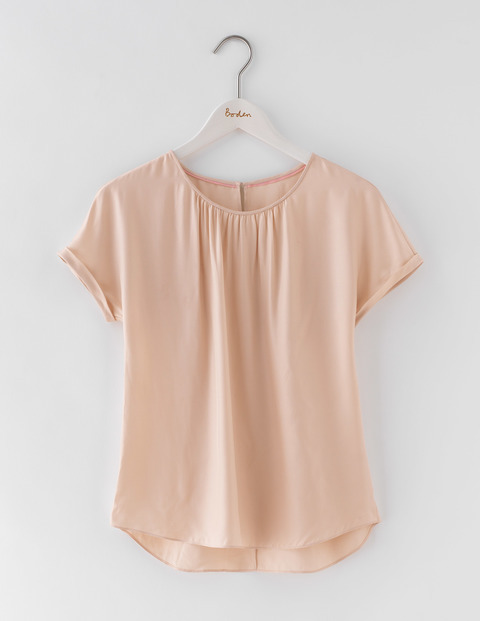 Ravenna Top Old Pink Women, Old Pink - pattern: plain; predominant colour: blush; occasions: casual; length: standard; style: top; fibres: silk - mix; fit: body skimming; neckline: crew; sleeve length: short sleeve; sleeve style: standard; texture group: cotton feel fabrics; pattern type: fabric; season: s/s 2016