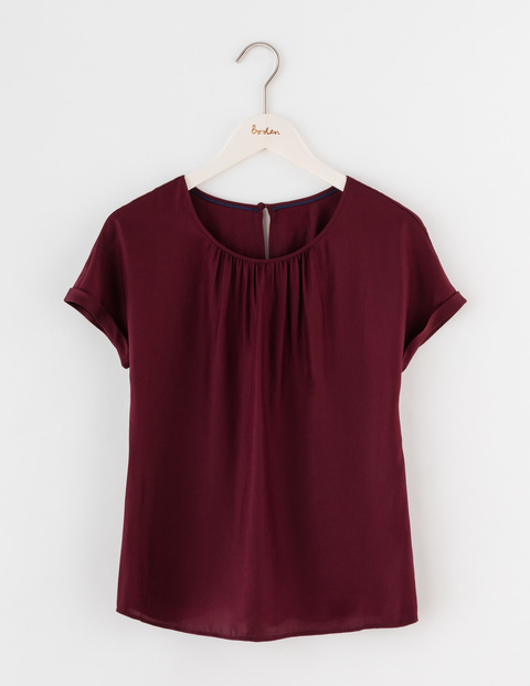 Ravenna Top Burgundy Women, Burgundy - pattern: plain; predominant colour: burgundy; occasions: casual; length: standard; style: top; fit: body skimming; neckline: crew; sleeve length: short sleeve; sleeve style: standard; pattern type: fabric; texture group: jersey - stretchy/drapey; fibres: viscose/rayon - mix; season: s/s 2016; wardrobe: highlight