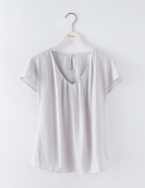 V Neck Ravello Silver Women, Silver - neckline: v-neck; pattern: plain; predominant colour: light grey; occasions: casual; length: standard; style: top; fit: body skimming; sleeve length: short sleeve; sleeve style: standard; texture group: cotton feel fabrics; pattern type: fabric; fibres: viscose/rayon - mix; season: s/s 2016; wardrobe: basic