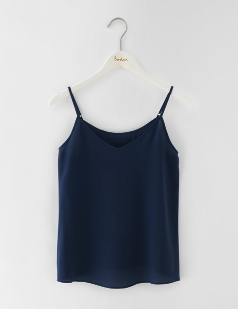 Silk Cami Navy Women, Navy - neckline: v-neck; sleeve style: spaghetti straps; pattern: plain; style: camisole; predominant colour: navy; occasions: casual; length: standard; fibres: silk - 100%; fit: body skimming; sleeve length: sleeveless; texture group: silky - light; pattern type: fabric; season: s/s 2016; wardrobe: basic